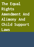 The equal rights amendment and alimony and child support laws