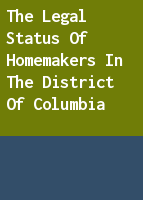 The legal status of homemakers in the District of Columbia